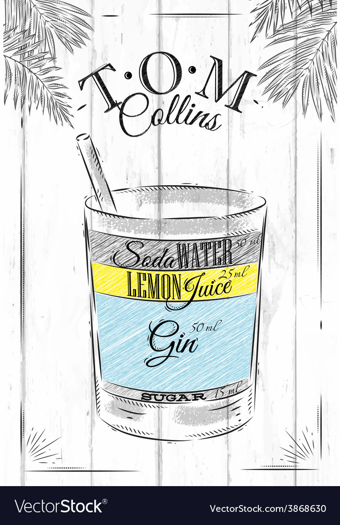 Tom collins cocktail vector