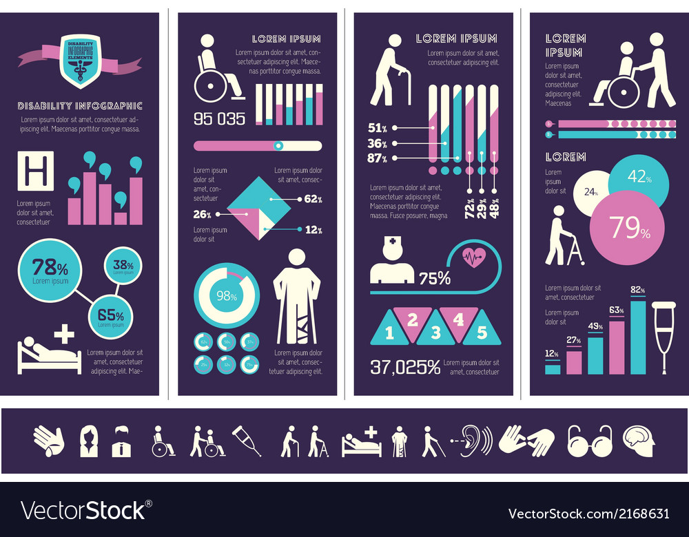 Disability infographic template vector