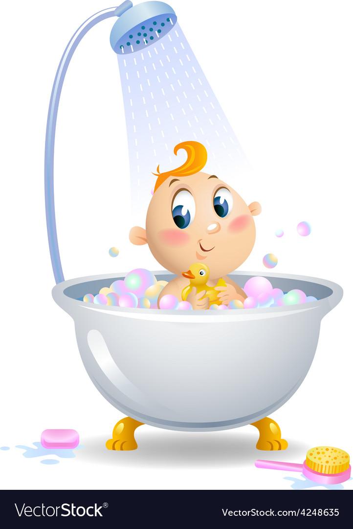 Baby in the shower vector