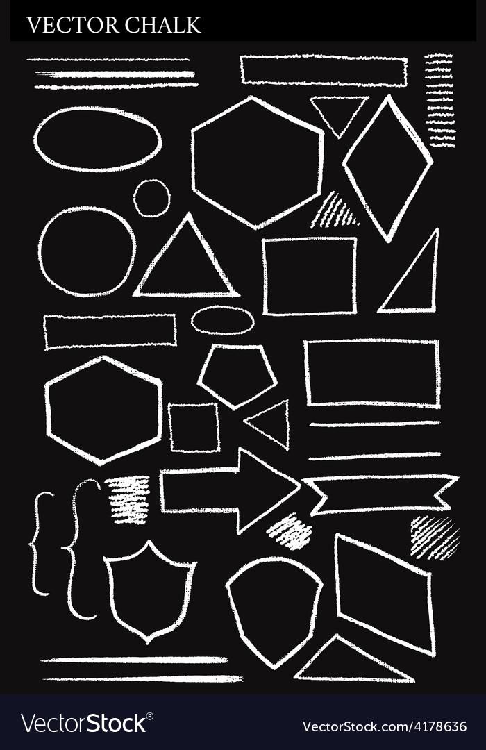Set of chalk shapes grunge design elements vector