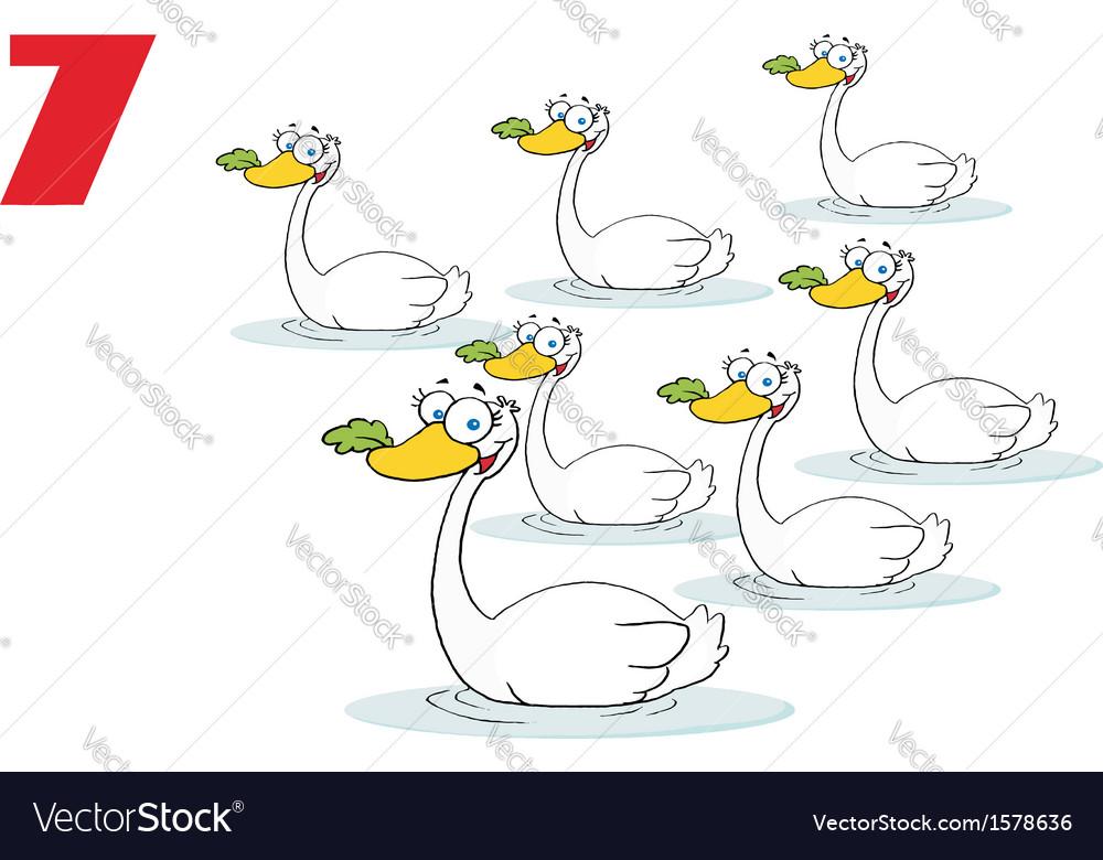 Seven swans swimming cartoon vector