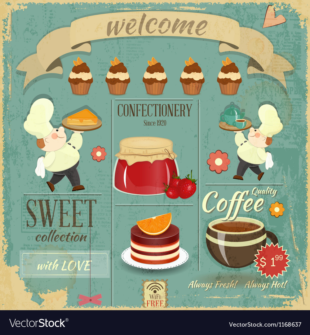 Sweet cafe menu retro design vector