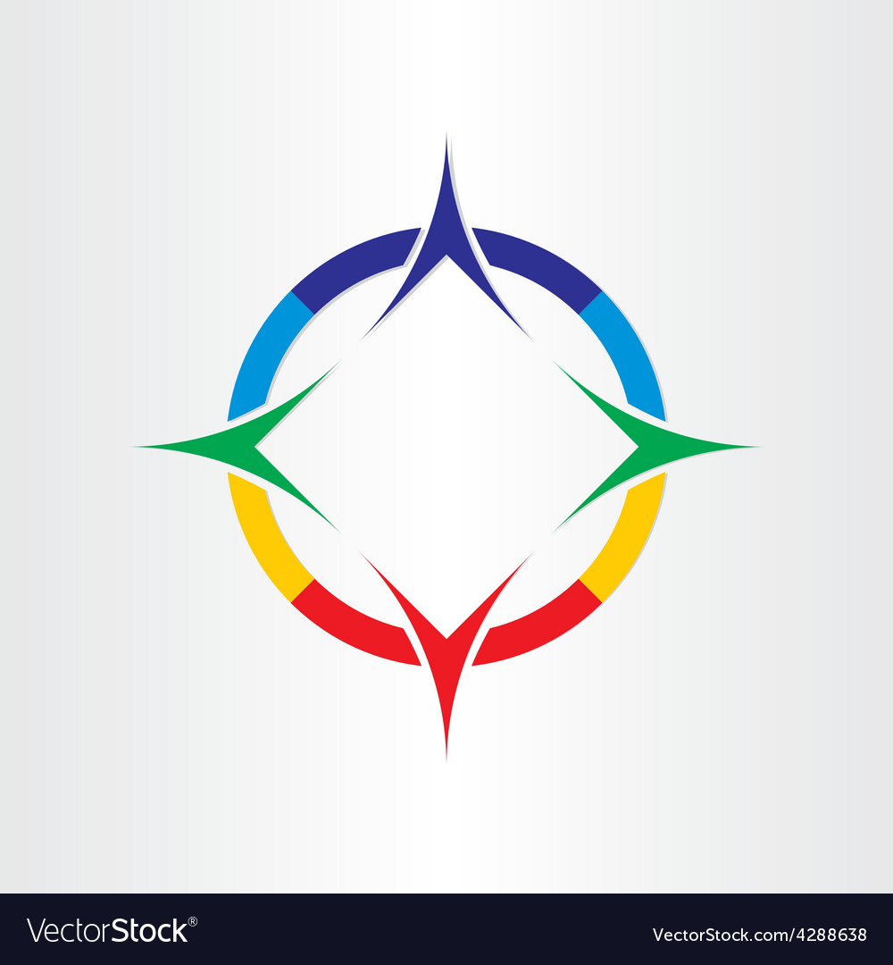 Stylized compass direction icon design vector