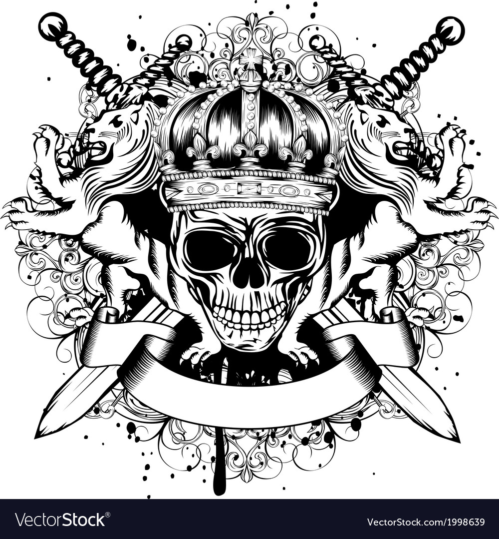 Skull in crown lions and crossed swords vector