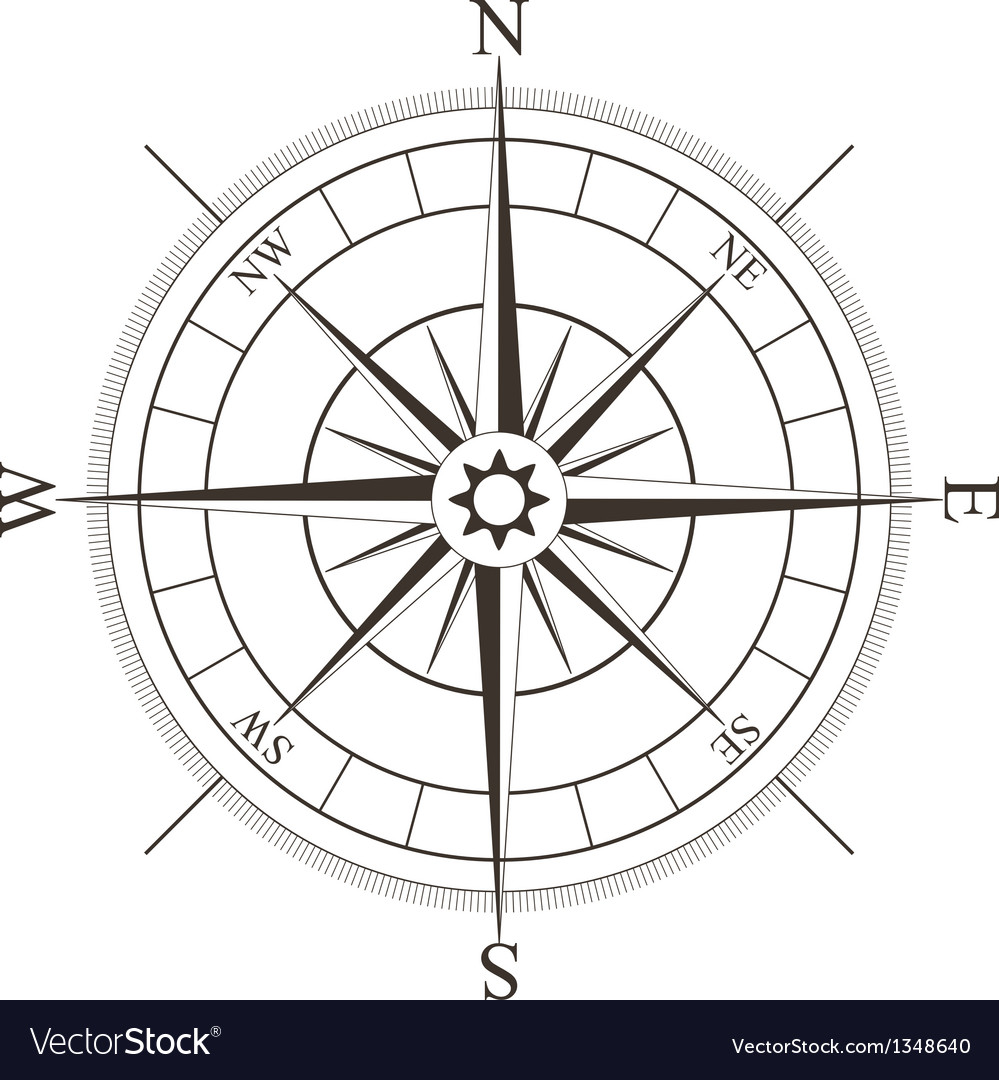 Black compass rose isolated on white vector