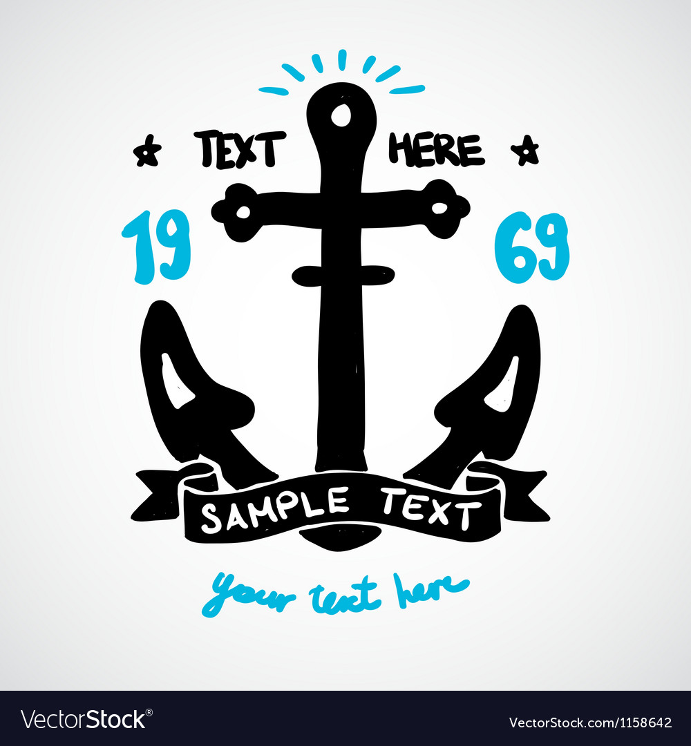Doodle anchor with place for your text vector