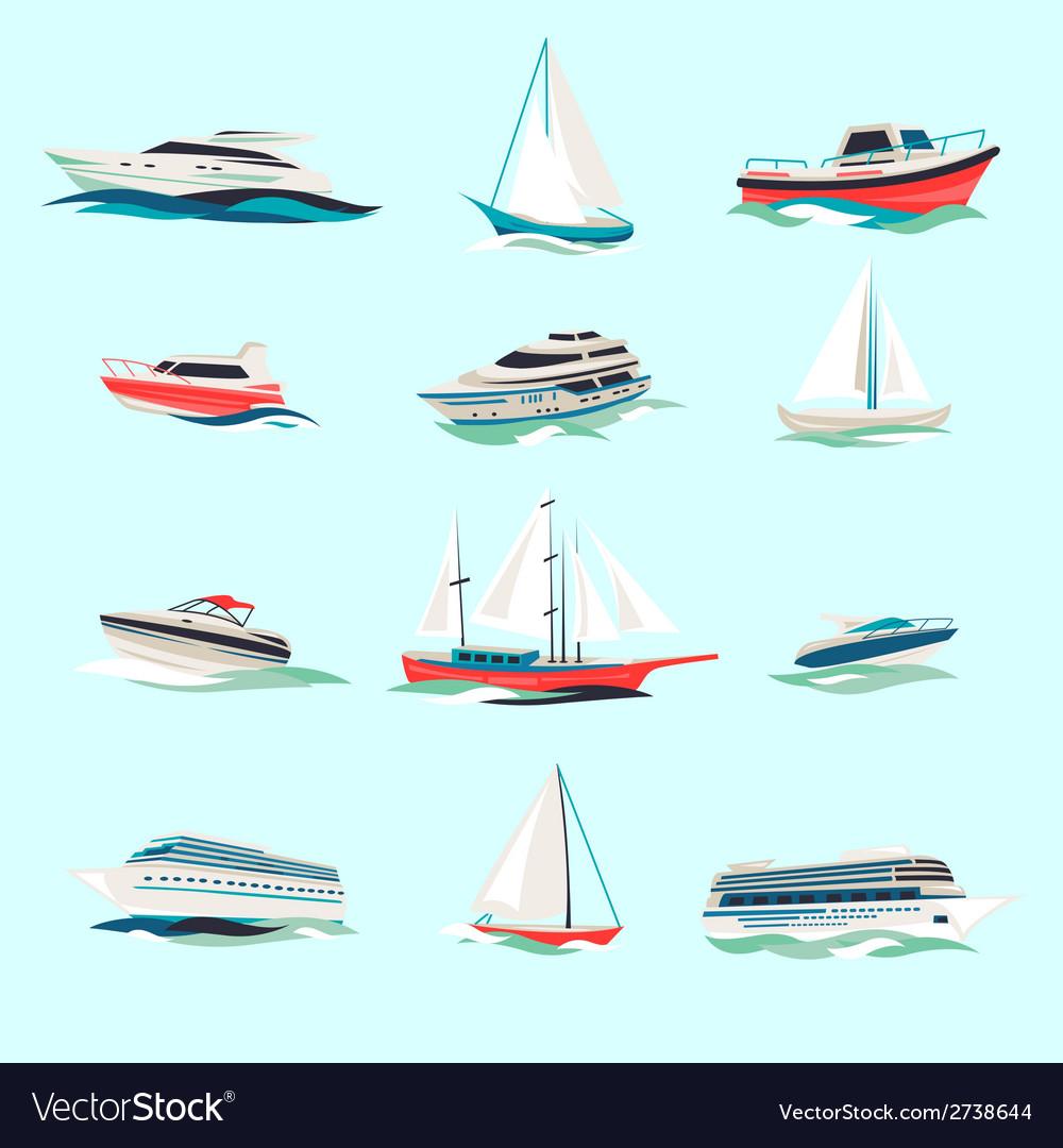 Boats icons set vector