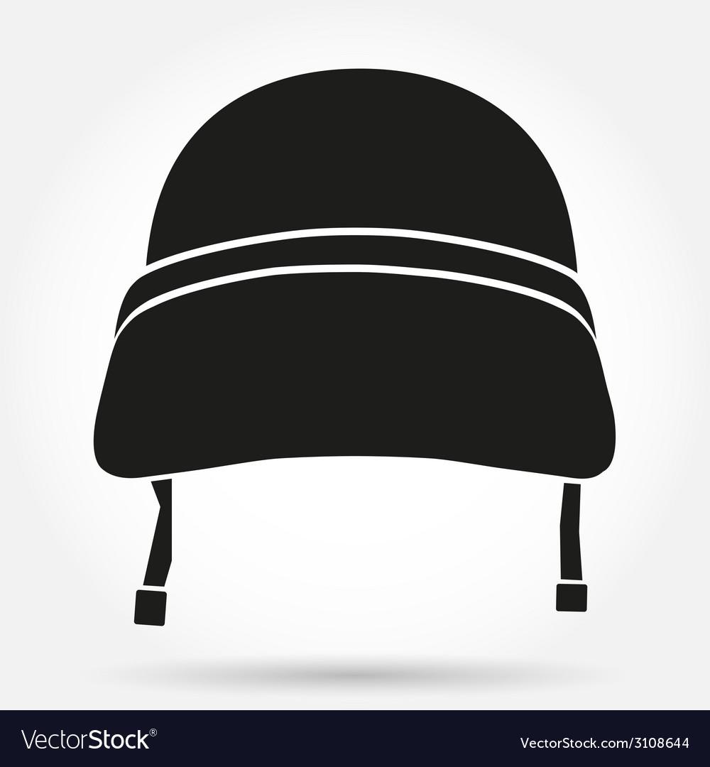 Silhouette symbol of military helmet vector