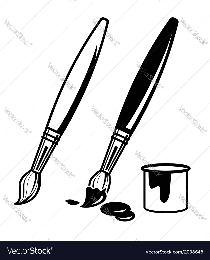 Paint brush icons vector