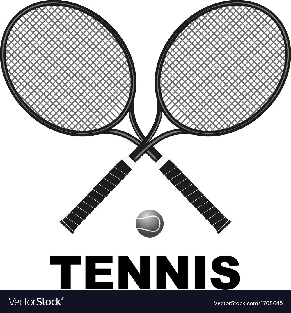 Tennis rackets and ball vector
