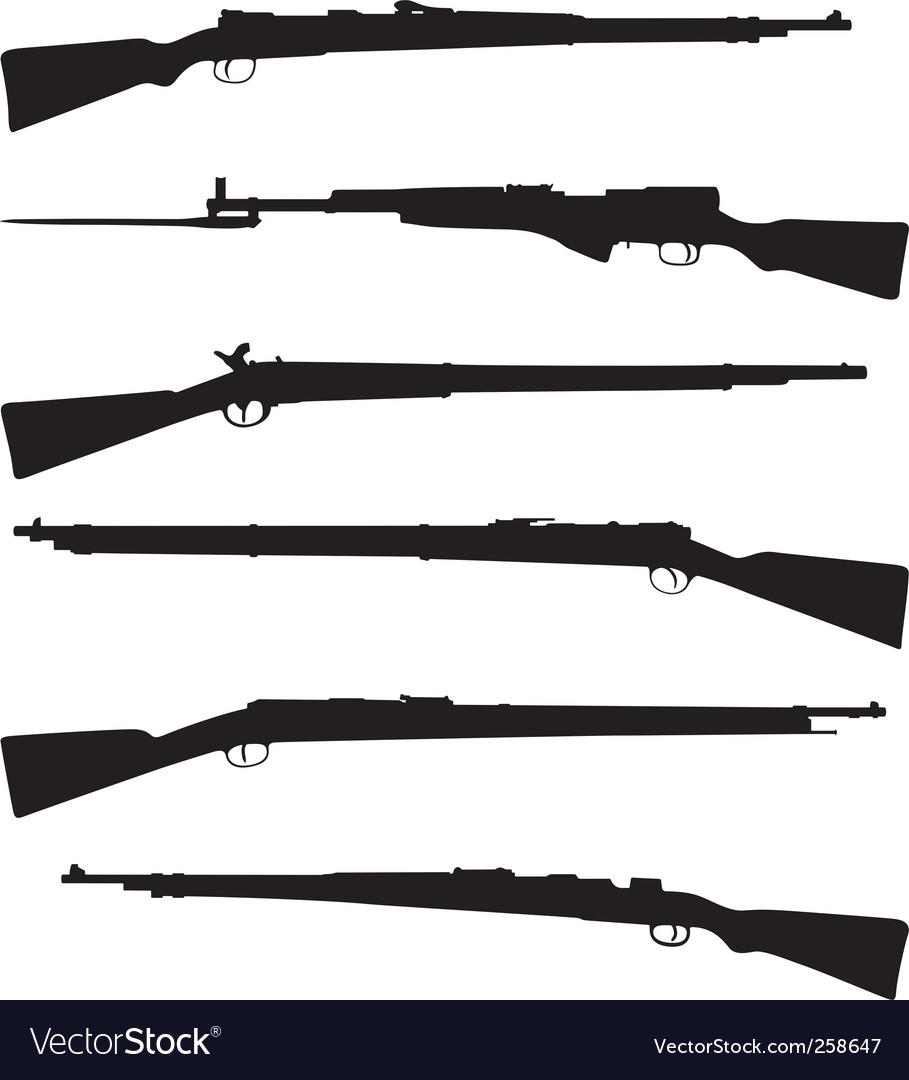 Six old shotguns vector