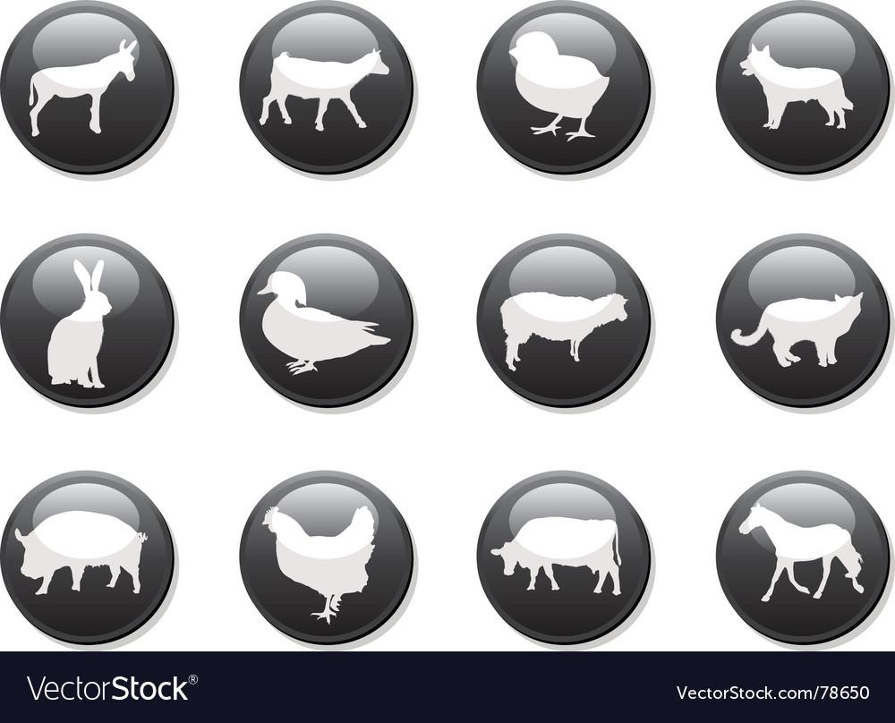 Farm animals buttons vector