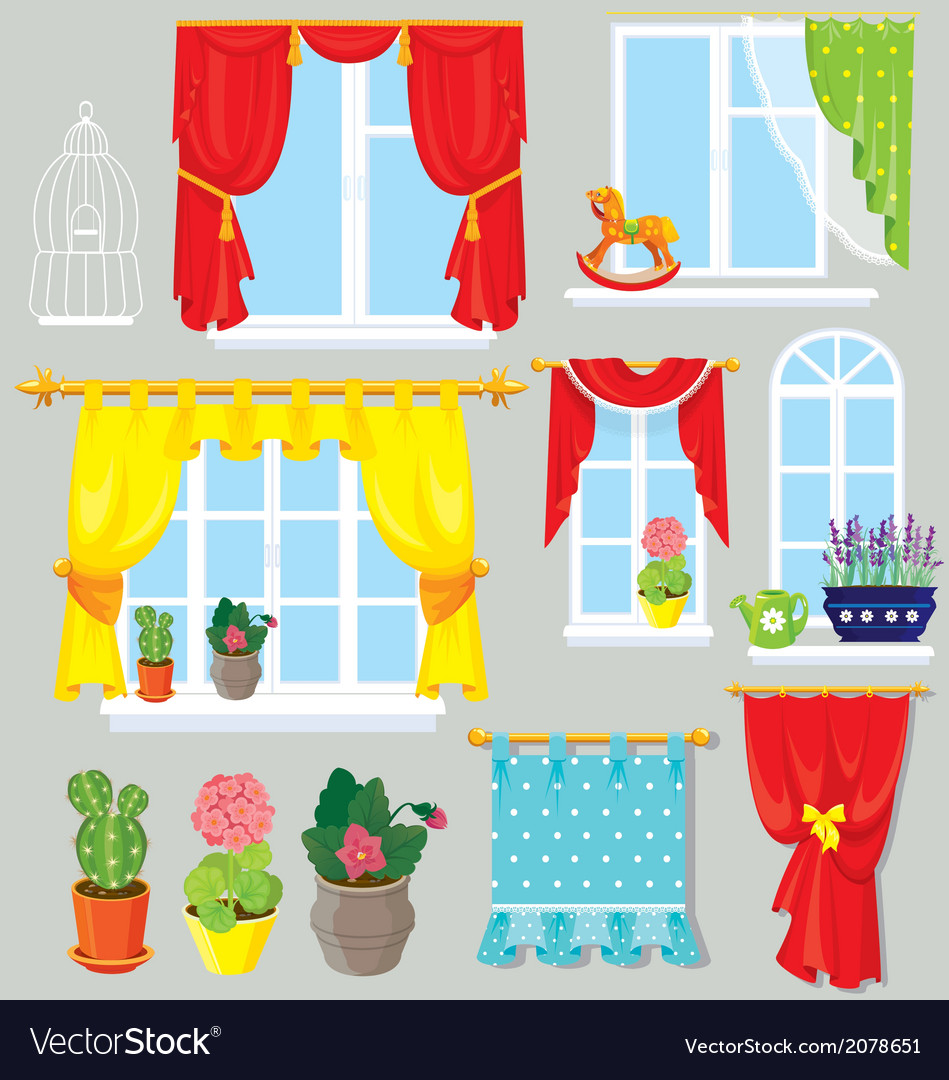 Set of windows curtains and flowers in pots vector