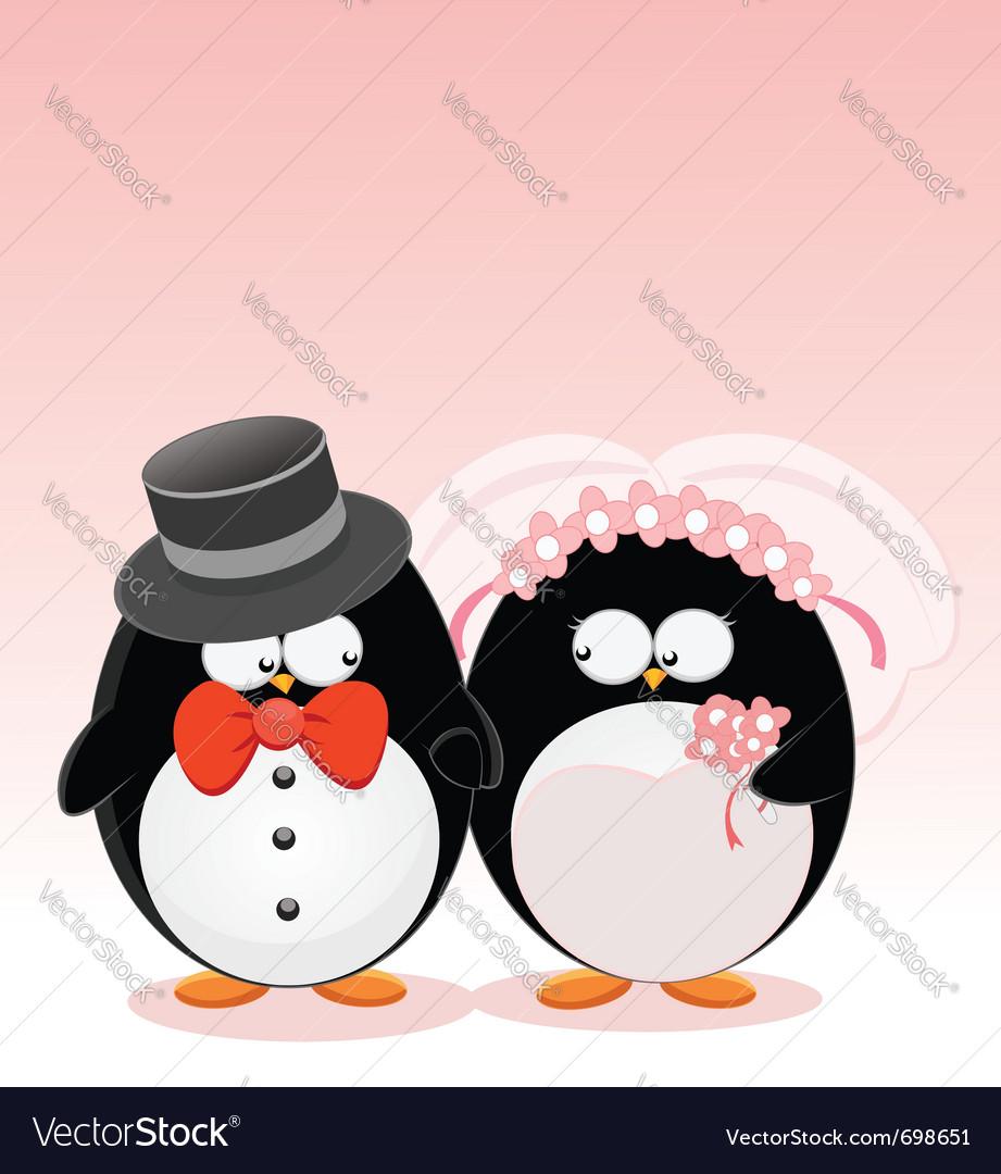 Wedding penguins vector