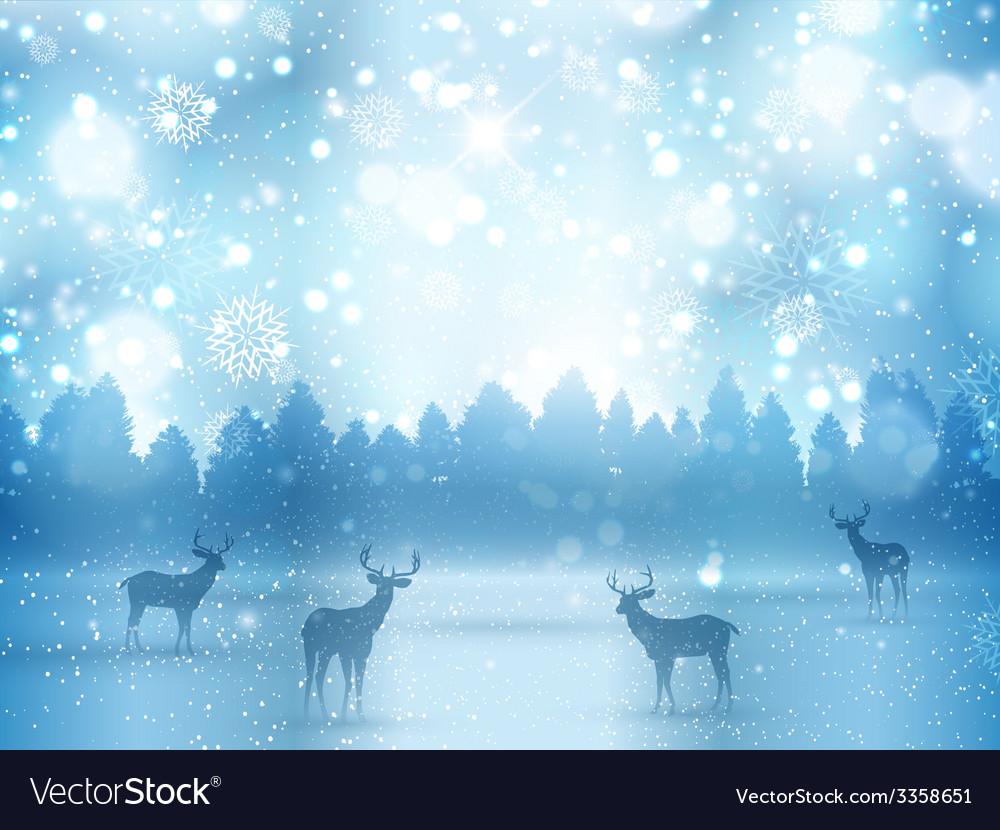 Winter landscape with deer vector