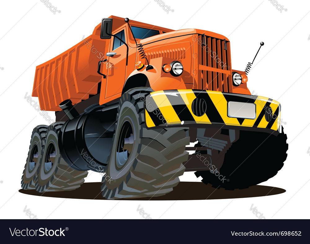 Cartoon dump truck 6x6 vector