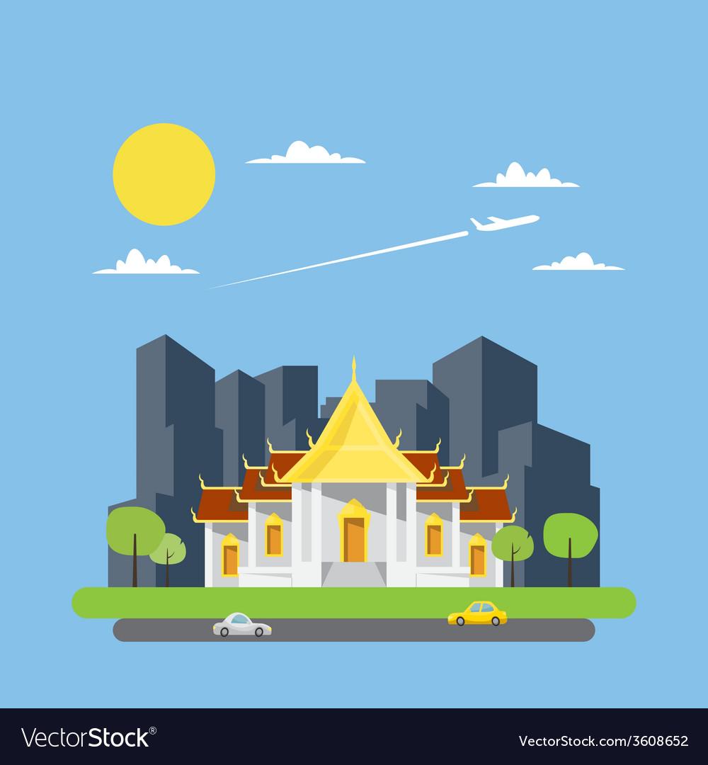 Flat design of thai temple vector