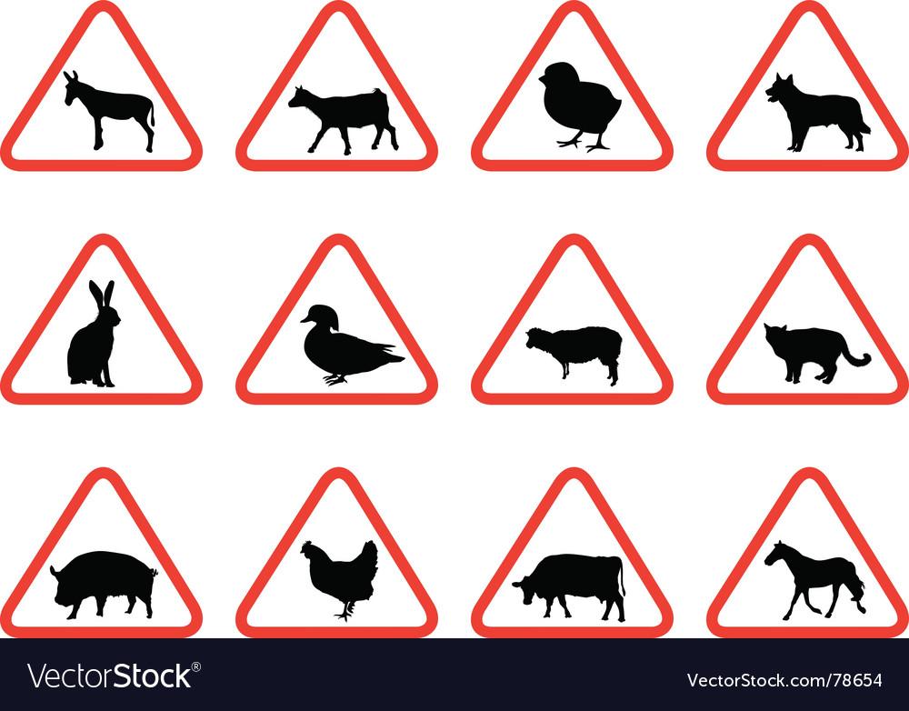 Farm animals warning signs vector