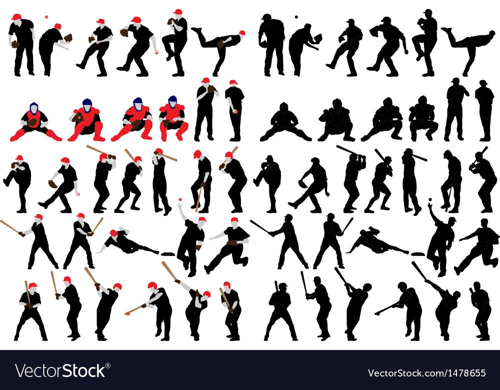Baseball silhouette set vector