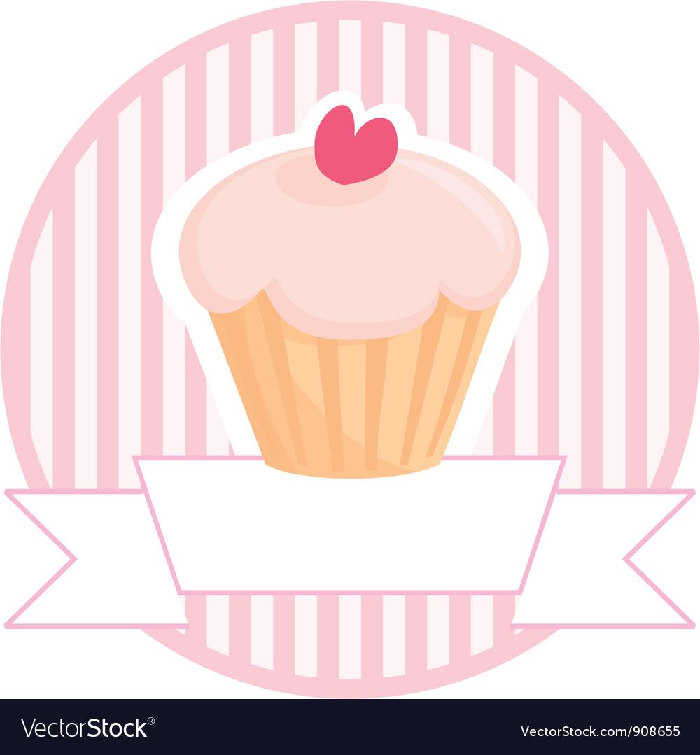 Cupcake button logo or wedding invitation card vector