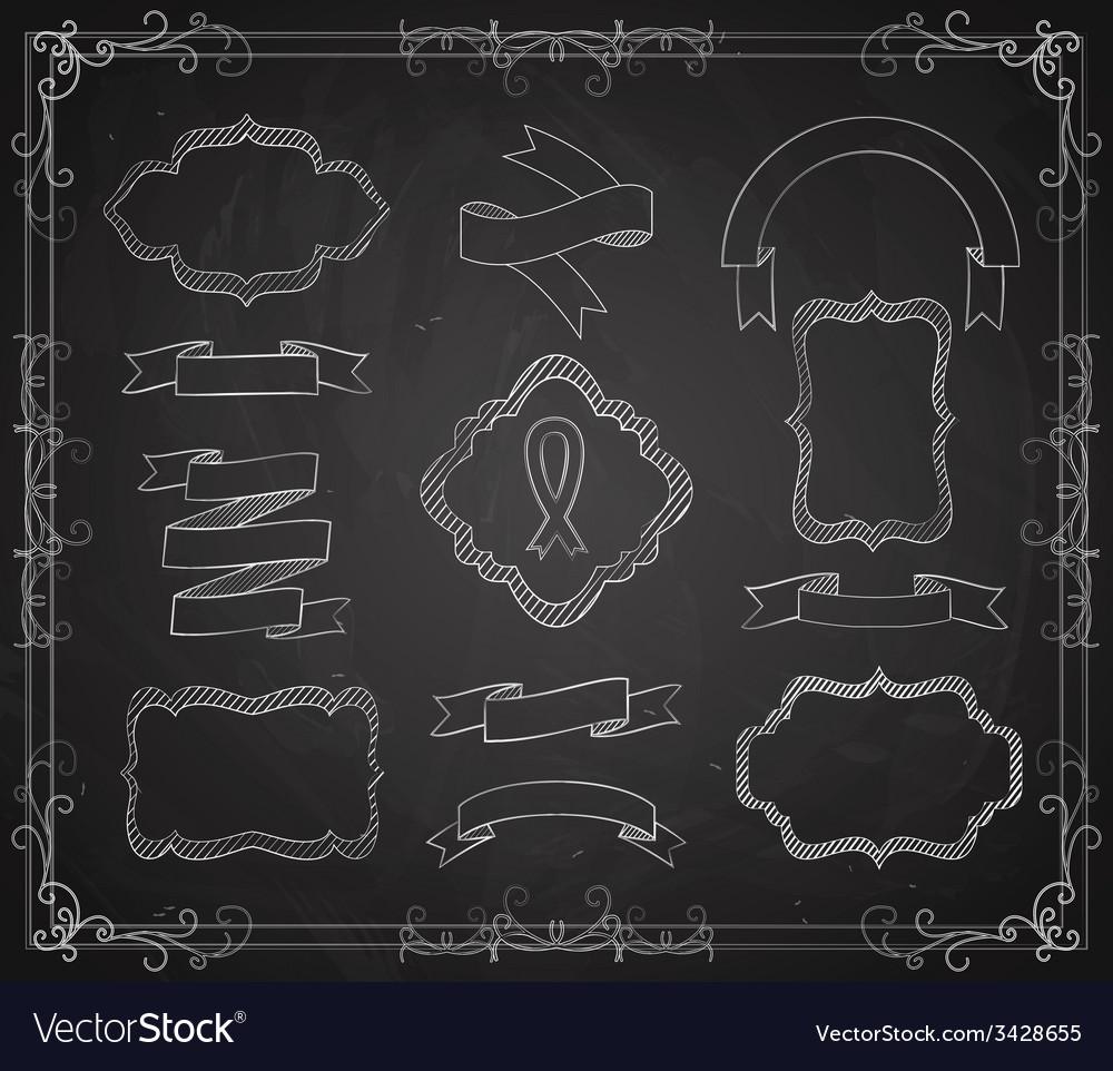 Set of chalkboard banners vector