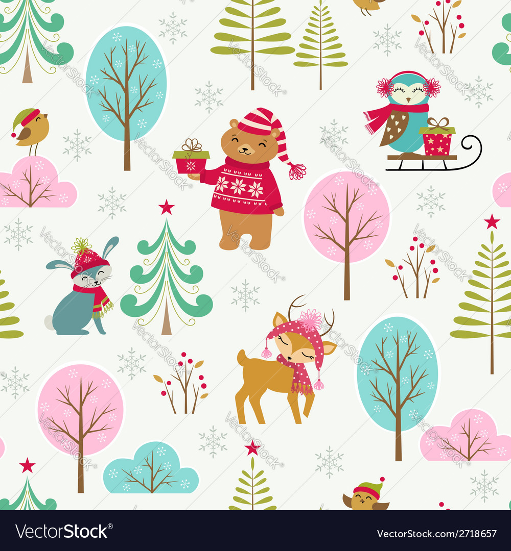 Cute christmas forest pattern vector