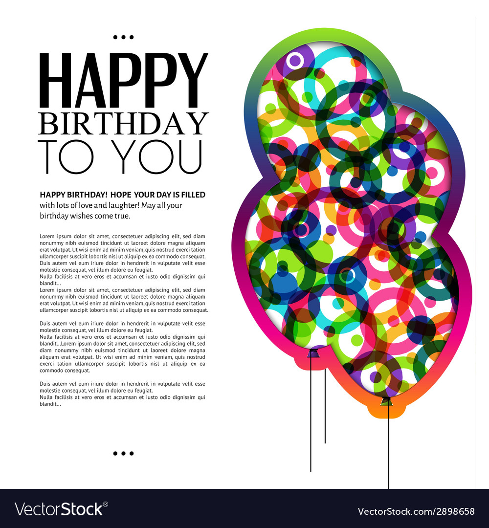Birthday card with color balloons and text vector