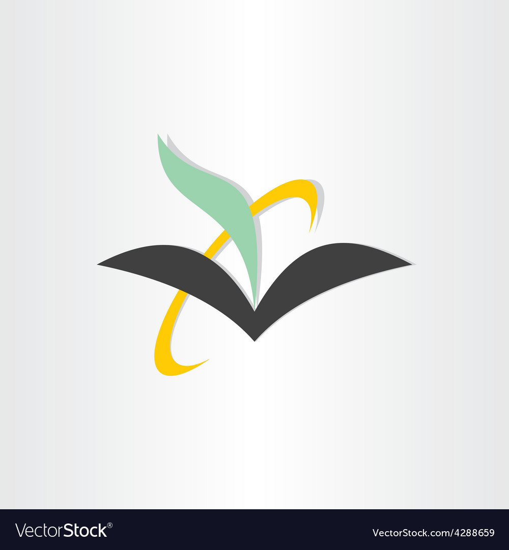 Book and feather education icon vector