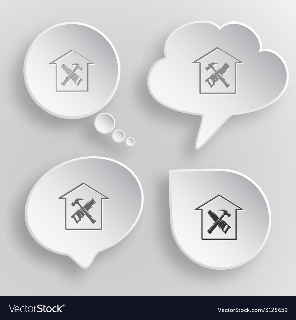 Workshop white flat buttons on gray background vector