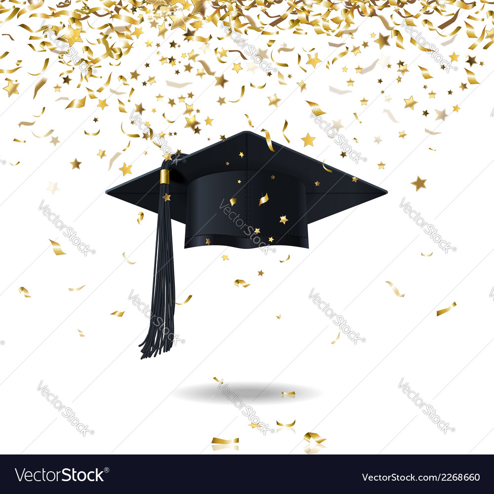 Graduate cap and confetti vector