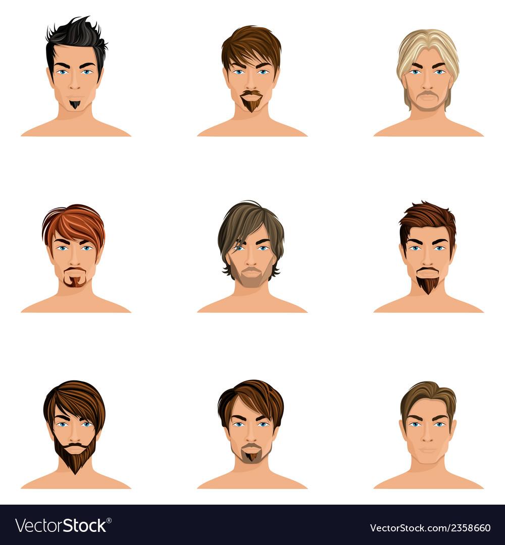 Man hair style set vector