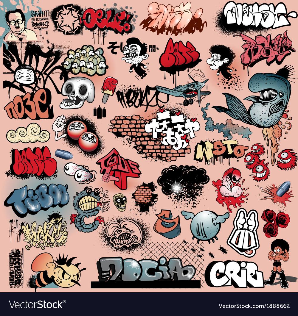 Graffiti street art objects vector