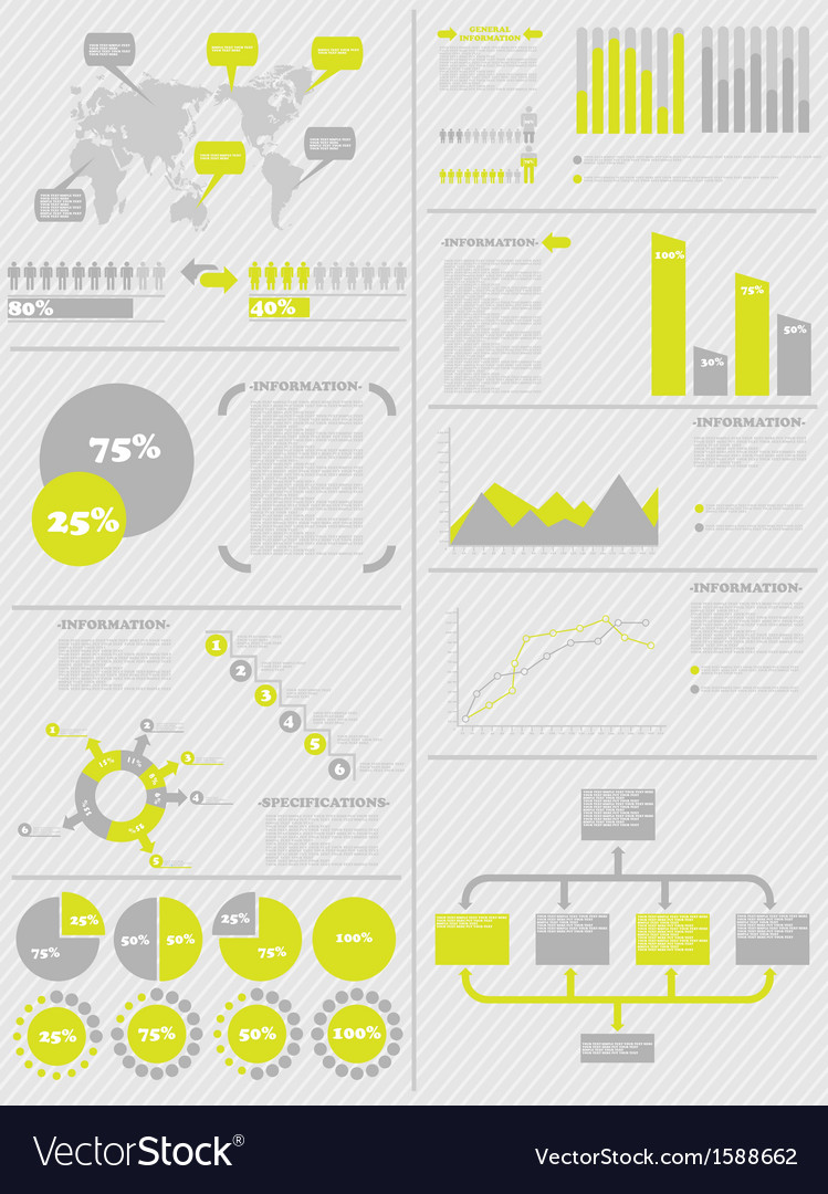 Infographic demographics 5 yellow vector