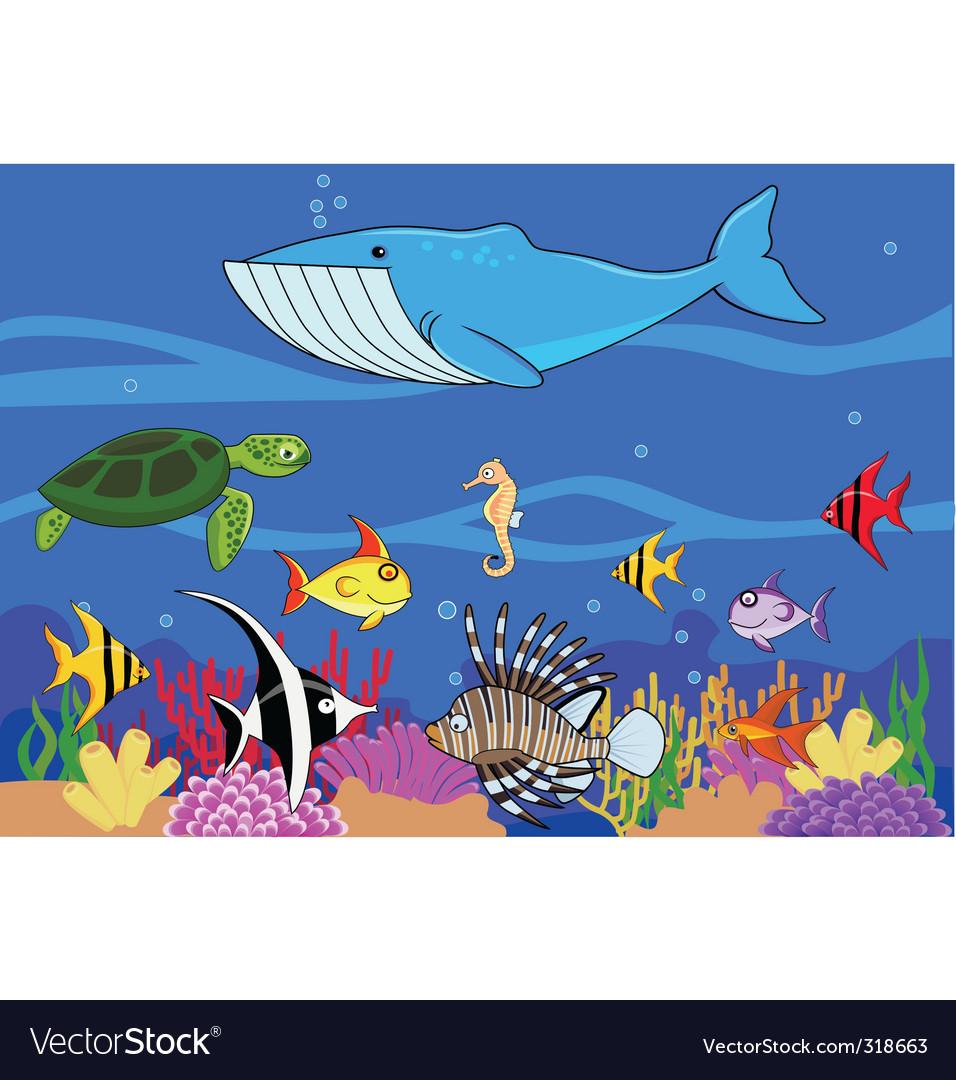 Sea life background vector