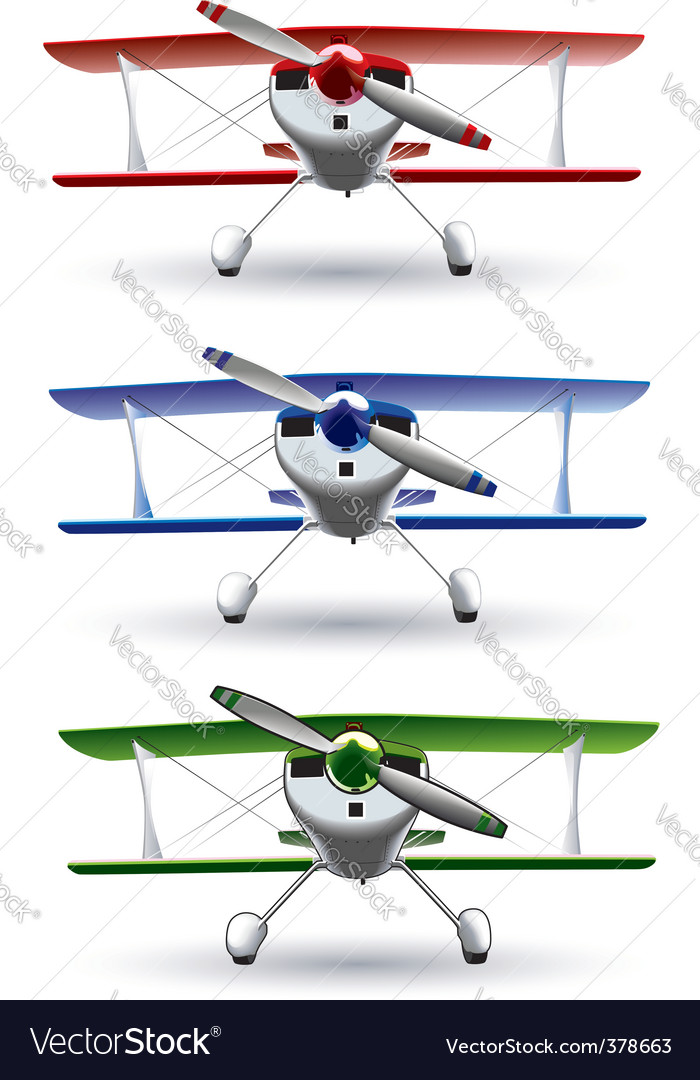 Sporting biplane front vector