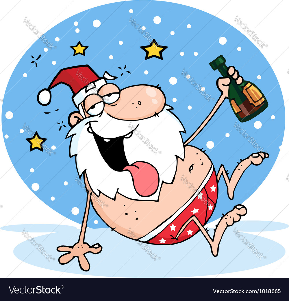 Drunk santa clause in the snow vector