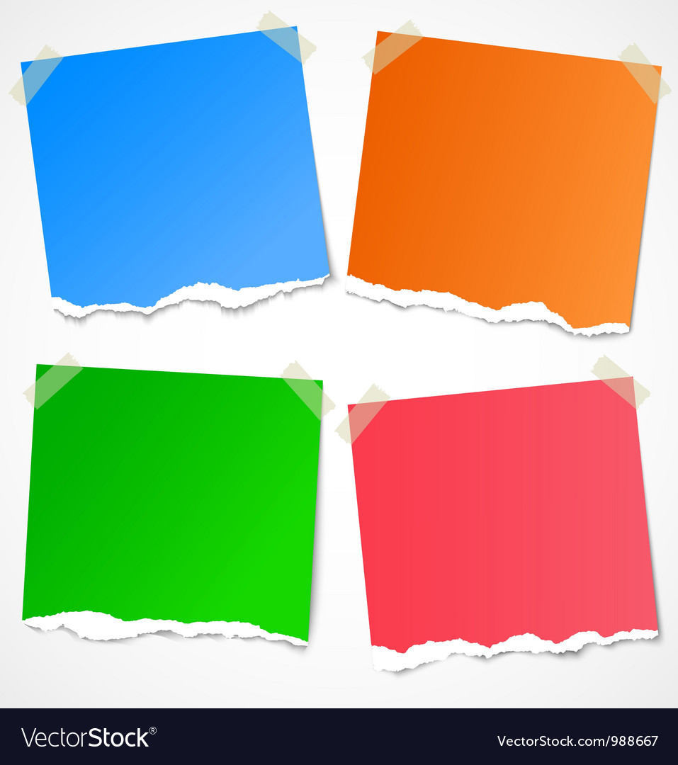 Colorful torn paper stickers notes and reminders vector