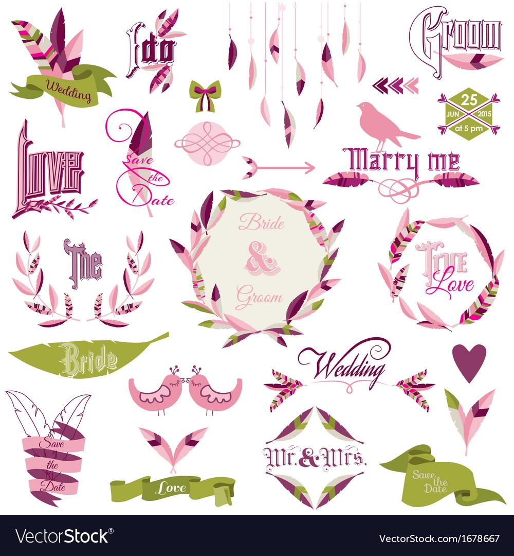 Wedding design elements vector