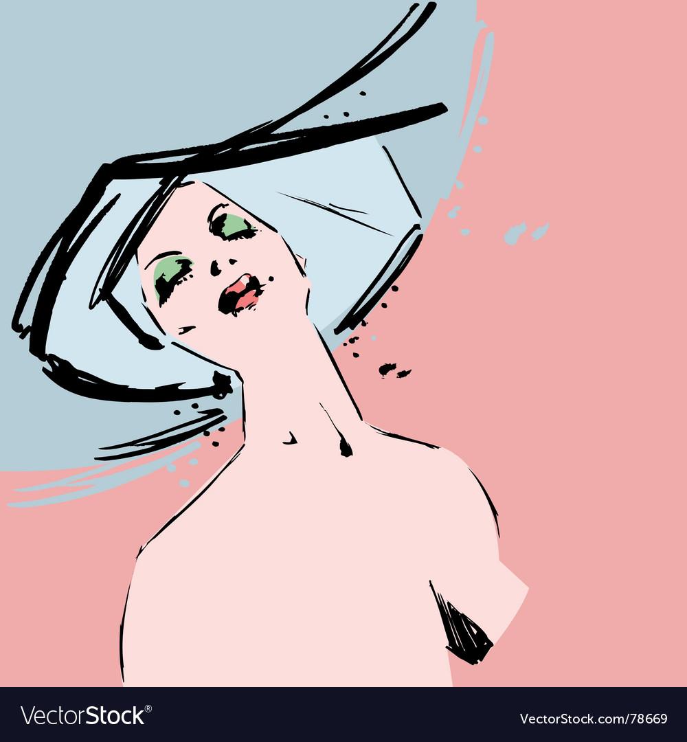 Beautiful fashion model ink sketch vector