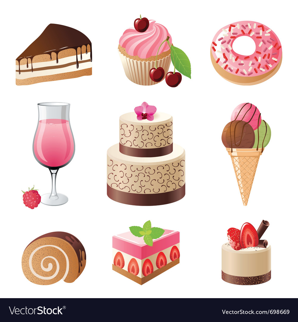 Sweets and candies icons set vector