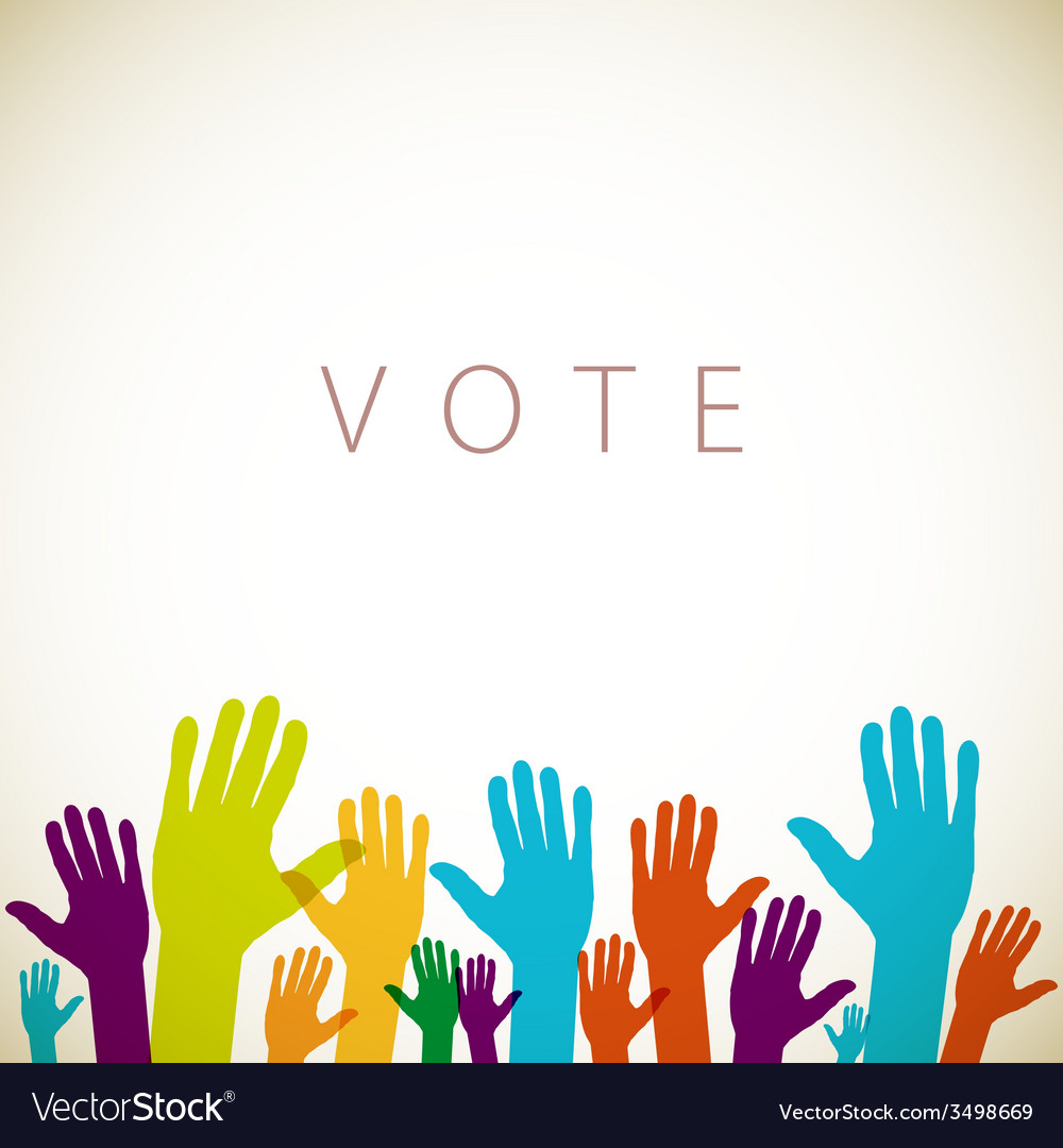 Warm colorful up hands logo vote vector