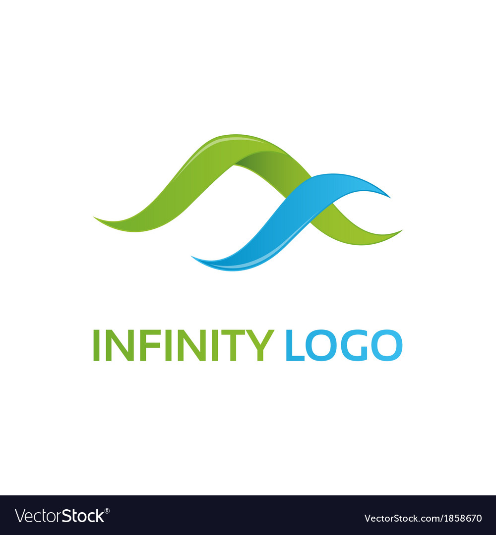 Green blue infinity logo template vector