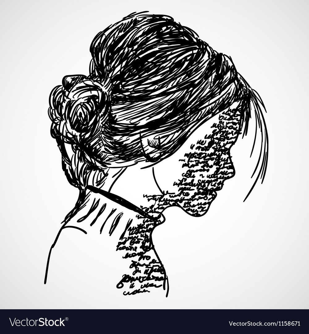 A sketch of the girl with words written on her vector