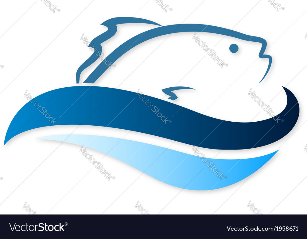 Fish on waves vector