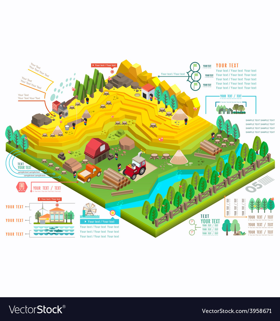 Isometric for ecological and a timber industry vector