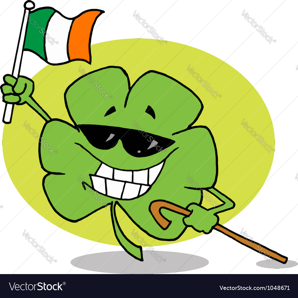 Shamrock carrying a cane and waving an irish flag vector