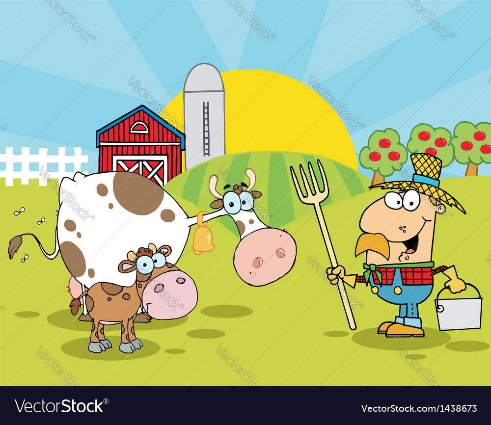 Male farmer tending to his cattle on his farm vector