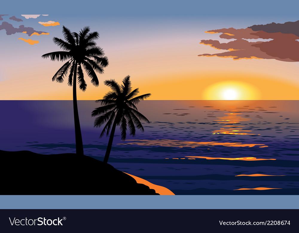 Sunset at sea vector
