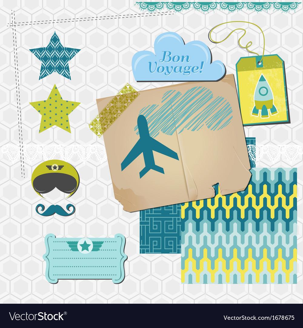 Scrapbook design elements - airplane party set vector