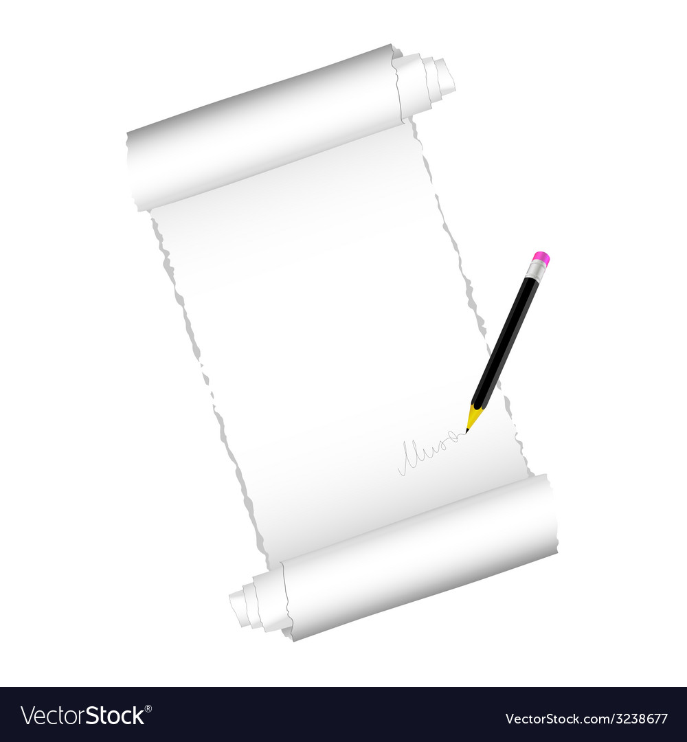Paper roll with black pen vector